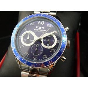 テクノス TECHNOS T2255SN クロノグラフ 10気圧防水 腕時計ブルー|zumi