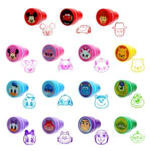 Disney ディズニー 顔柄 フェイス スタンプ 15個  インク付 丸型スタンプ はんこ ハンコ 文房具 文具 子ども キッズ 子供 目印 景品 かわいい ギフト百貨のzumi