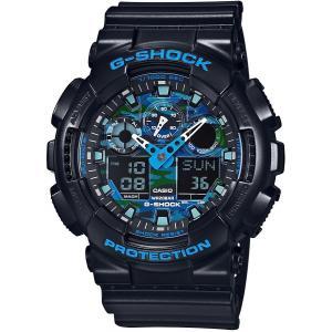 送料無料 CASIO G-SHOCK カシオ GA-100CB-1A メンズ腕時計 ブラック xブルー カモフラ柄|zumi