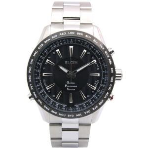 エルジン ELGIN メンズ腕時計 GP衛星電波時計 スイス製ムーブ オールステンレス 100m防水 ブラック 【ポイント5倍】|zumi
