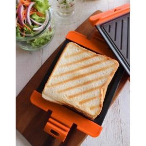 送料無料 ベイクイット ホットサンドメーカー パニーニ 食パン1枚 レギュラー オレンジ  レッド スイスダイヤモンド Bake it! HS-OR HP-1002-R|zumi