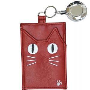 パスケース 定期入れ おしゃれ 猫  ネコJ-290  可愛い ノアファミリー 猫顔 暗闇で目が光る レッド noafamily 代引き不可 zumi