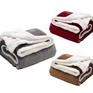 【アウトレット品】 もこもこ毛布 ダブル シングル 掛け毛布 2枚合わせ シープ調 ボア あったか ...