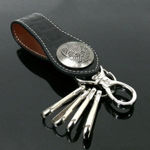 シャープなデザイン 迫力のあるクロコ型押し キーリング メンズキーケース|zumi