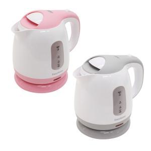 電気 カフェケトル 1.0L KTK-300 ピンク グレー 800W コンパクト ステンレス キッチン 家電 コードレス ケトル zumi