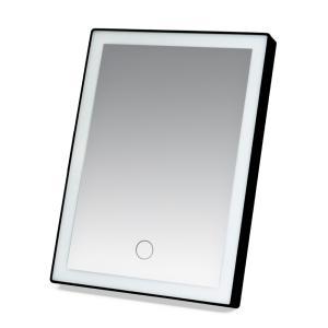 三段階調光LEDライト付き 鏡 ミラー USB充電式 ブラック  鏡 卓上 化粧 照明 タッチセンサー LED女優ミラー メイク LEDミラー zumi