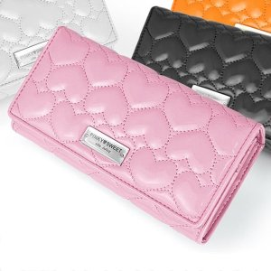 PINKY SWEET エナメルハートキルティングアコーディオン 長財布 PS-404|zumi