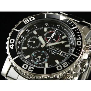 SEIKO SNA225PC メンズ腕時計 海外モデル クロノグラフ ブラックダイバー|zumi