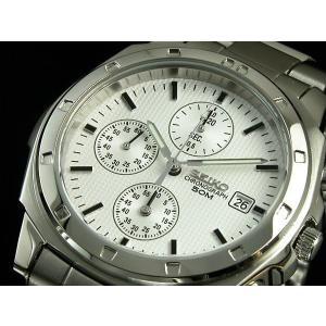 SEIKO SND187PC メンズ腕時計 海外モデル クロノグラフ ホワイト|zumi