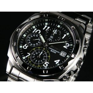 SEIKO SND195PC メンズ腕時計 海外モデル クロノグラフ ブラック...