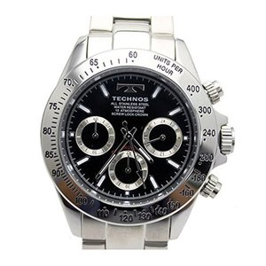 【ポイント5倍!】テクノス TECHNOS クロノ クオーツ メンズ 腕時計 TSM401SB ブラック|zumi
