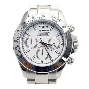 テクノス TECHNOS クロノ クオーツ メンズ 腕時計 TSM401SW ホワイト 【ポイント5倍】|zumi