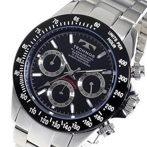 テクノス TECHNOS クロノ クオーツ メンズ 腕時計 TSM401TB ブラック 【ポイント5倍】|zumi