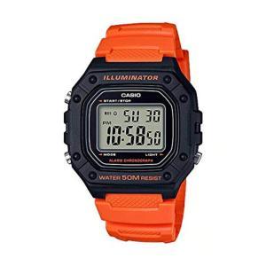 送料無料 CASIO STANDARD DIGITAL カシオ W-218H-4B2 スタンダード デジタル 腕時計 メンズ レディース チープカシオ チプカシ ブラック 黒 オレンジ|zumi