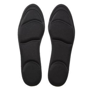 CRECER 女性用 インソール 衝撃吸収 靴 の 中敷き パンプス スニーカー に (ブラック)