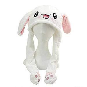 LOOVOOレディース 帽子スカーフ TIKTOK動くウサギの耳 白うさぎの帽子 耳が動くの うさぎ...