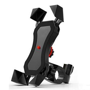 自転車 スマホ ホルダー 2019年最新設計/1秒ロックアップオートバイ バイク スマートフォン振れ...