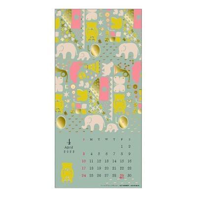 点と線模様製作所 岡理恵子 インテリア カレンダー 2022年 壁掛け ゴールドアクセント APJ