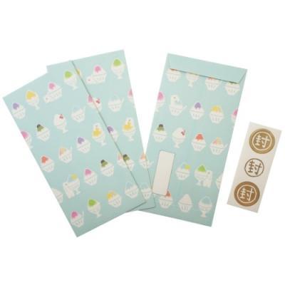 伊予和紙ふわり ぽち袋 和紙 ポチ袋 大 3枚セット 夏柄 かき氷とシロクマ2 フロンティア