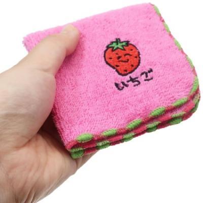 ミニタオル おえかきシリーズ ワンポイント 刺繍 ハンカチタオル いちごさん オクタニコーポレーション おもしろ雑貨