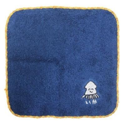 ミニタオル おえかきシリーズ ワンポイント 刺繍 ハンカチタオル いかさん オクタニコーポレーション