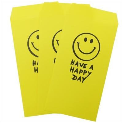 長札 金封 L 3枚セット HAVE A HAPPY DAY YELLOW グッズ ポチ袋 おもしろ雑貨 オクタニコーポレーション おとしだま袋