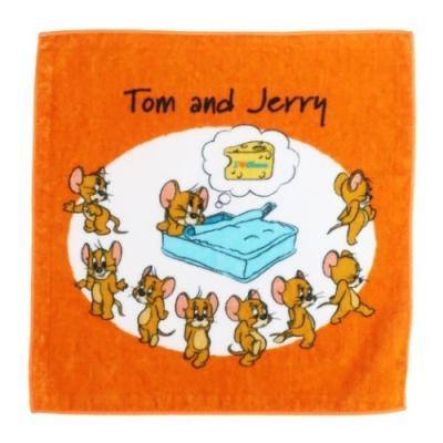 トムとジェリー グッズ ミニタオル ワーナーブラザース キャラクター インクジェットプリント ハンカチタオル ジェリー アイラブチーズ