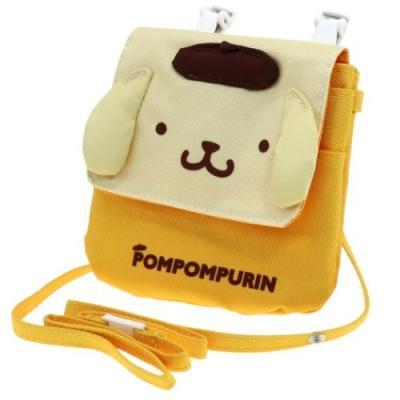 ポムポムプリン クリップポーチ ショルダー付き ダイカット マルチポケット サンリオ ティーズファクトリー
