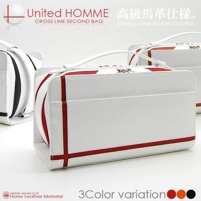 セカンドバッグ メンズ United HOMME クロスライン ダブルファスナー