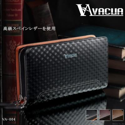 セカンドバッグ メンズ VACUA スペインレザー メッシュ ダブルファスナー