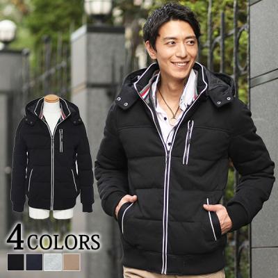 トリコロールデザインパイピング中綿ジャケット