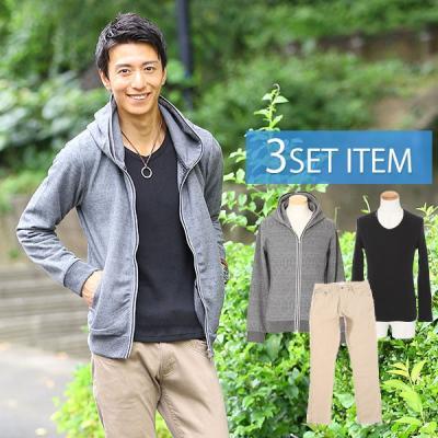 ★ジャケット×デニムシャツ×ニットソー×Tシャツ×クロップドパンツ 5点コーデセット