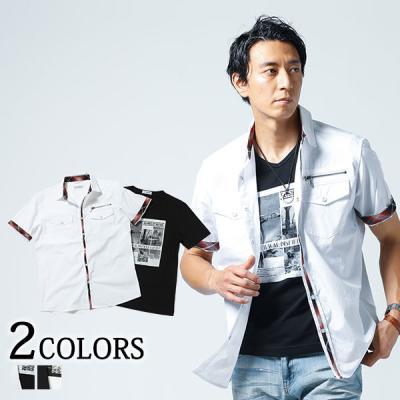 チェック切り替え半袖ドビーシャツ×プリント半袖ⅤネックTシャツ 2点セット