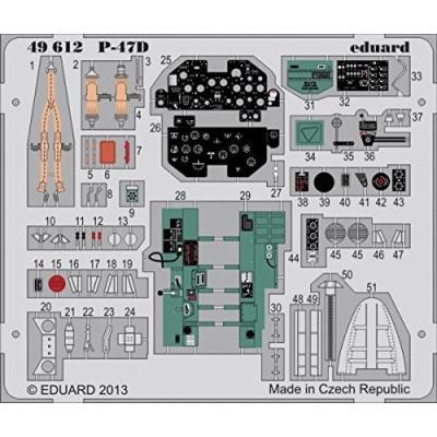 P-47D サンダーボルト 内/外装 カラーエッチングパーツ (接着剤付) (1/48スケール カラーエッチングパーツ EDU49612)の商品画像
