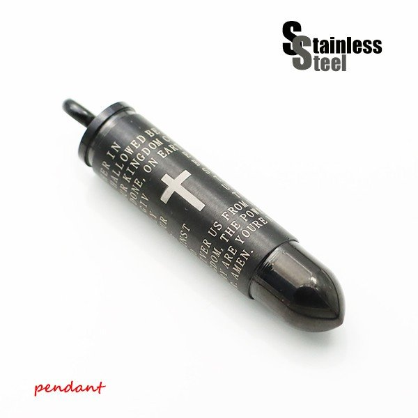 ステンレス ペンダント(51)ピルケース 弾丸 黒色 メイン メンズ レディース アクセサリー 送料無料 遺骨 薬 開閉可能 銃弾