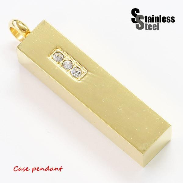 ステンレス ペンダント(53)ピルケースCZ  金色 メイン メンズ レディース アクセサリー 送料無料 遺骨 薬 開閉可能