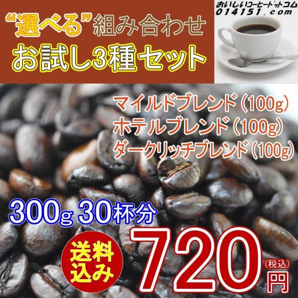 コーヒー豆 コーヒー ポイント消化 お試し 3種類 30杯分 珈琲豆セット 送料無料 珈琲 レギュラーコーヒー|014151|06