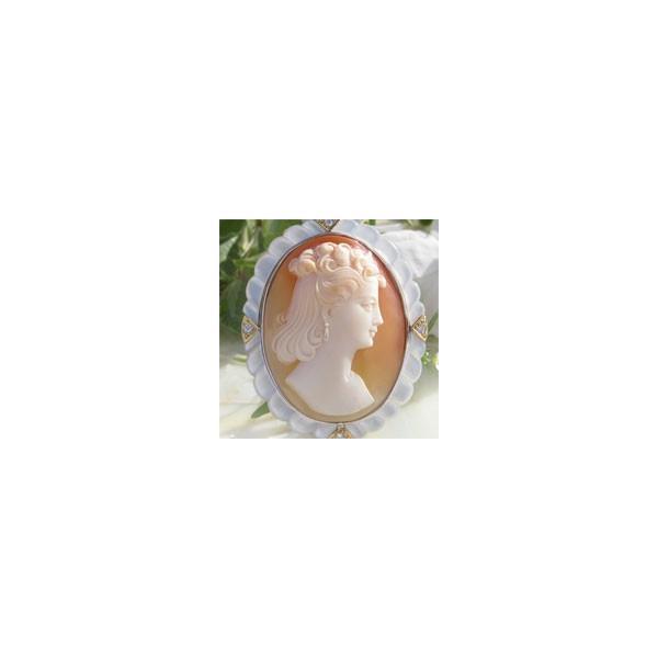 1900年代制作の完全手彫りのアンティークカメオ/コルネリアン シェルカメオ/K18, SILVER,白蝶貝、天然ダイヤモンド0.06ctペンダントブローチ