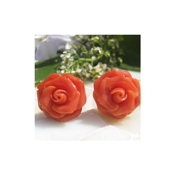 希少作品 Antonello Accanito作 天然上質 赤珊瑚 カメオ / K18  ピアス 【美しい赤い薔薇】