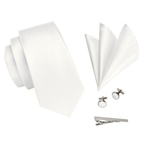 ネクタイ 4点セット ポケットチーフ カフスボタン タイピン パールホワイト 結婚式 フォーマル(メール便発送 送料無料)箱なし 封筒発送