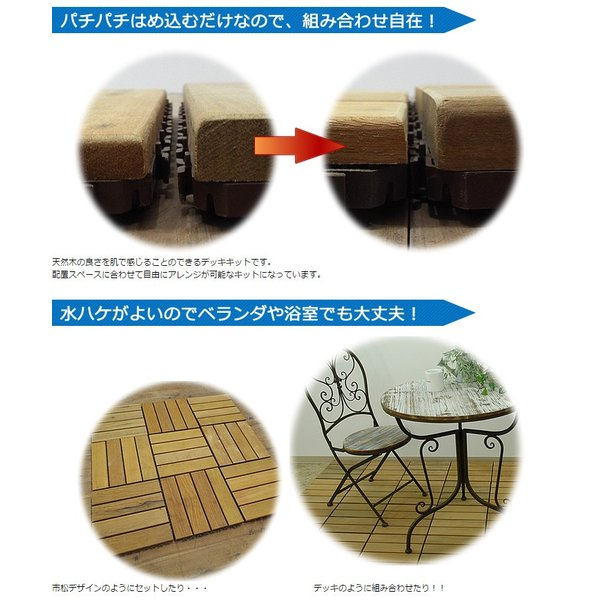 ウッドパネル ウッドデッキパネル 4枚貼り (108枚セット) 天然木 イタウバ|1128|04