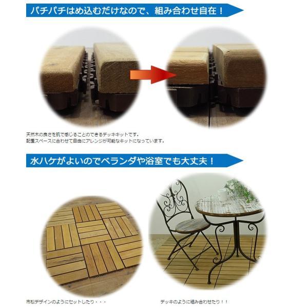 ウッドパネル ウッドデッキパネル 4枚貼り (12枚セット) 天然木 イタウバ 1128 04
