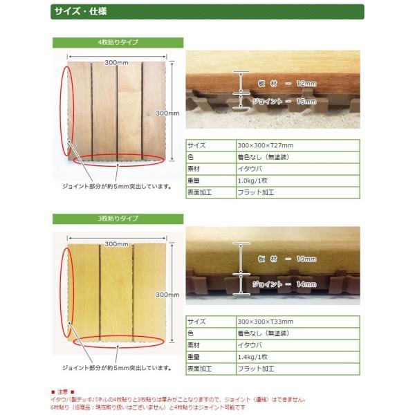 ウッドパネル ウッドデッキパネル 4枚貼り (12枚セット) 天然木 イタウバ 1128 05