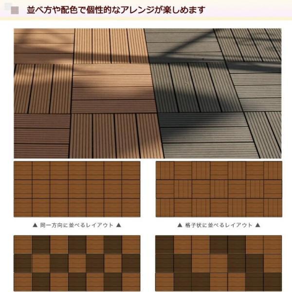 ウッドパネル ウッドデッキ ウッドデッキパネル 人工木 樹脂 (27枚セット) ブラウン クレアーレST デッキパネル ウッドタイル|1128|08