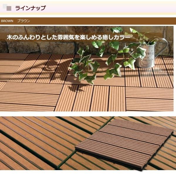 ウッドパネル ウッドデッキ ウッドデッキパネル 人工木 樹脂 (27枚セット) ブラウン クレアーレST デッキパネル ウッドタイル|1128|09