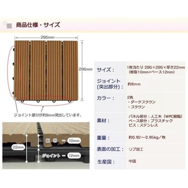 ウッドパネル ウッドデッキ ウッドデッキパネル 人工木 樹脂 (27枚セット) ダークブラウン クレアーレST2 デッキパネル ウッドタイル|1128|11