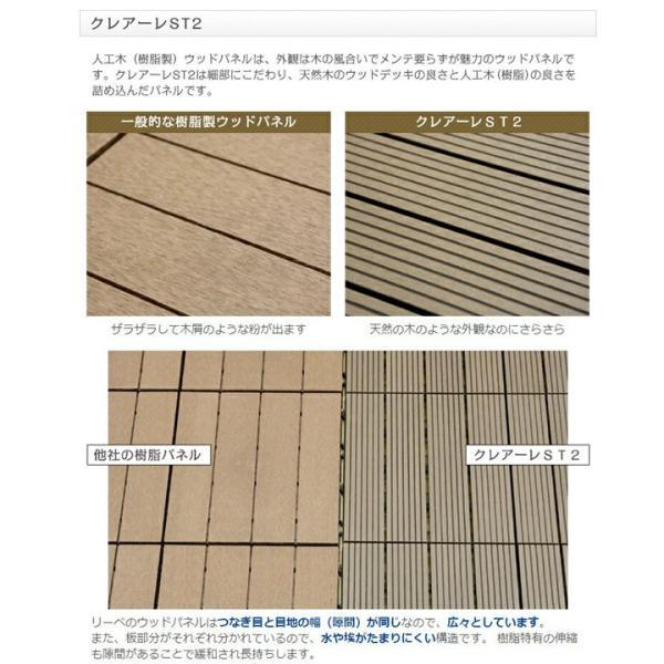 ウッドパネル ウッドデッキ ウッドデッキパネル 人工木 樹脂 (27枚セット) ダークブラウン クレアーレST2 デッキパネル ウッドタイル|1128|04