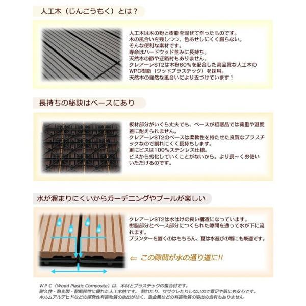ウッドパネル ウッドデッキ ウッドデッキパネル 人工木 樹脂 (27枚セット) ダークブラウン クレアーレST2 デッキパネル ウッドタイル|1128|06