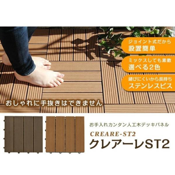 ウッドパネル ウッドデッキ ウッドデッキパネル 人工木 樹脂 (81枚セット) ダークブラウン クレアーレST2 デッキパネル ウッドタイル|1128|02