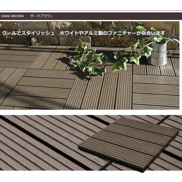 ウッドパネル ウッドデッキ ウッドデッキパネル 人工木 樹脂 (81枚セット) ダークブラウン クレアーレST2 デッキパネル ウッドタイル|1128|11